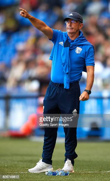 Tony Pulis the manager of West Bromwich Albion reacts during the Pre Season Friendly match between Deportivo de La Corua and West Bromwich Albion at...