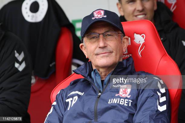 Tony Pulis the Middlesbrough manager before the Sky Bet Championship match between Rotherham United and Middlesbrough at the New York Stadium...