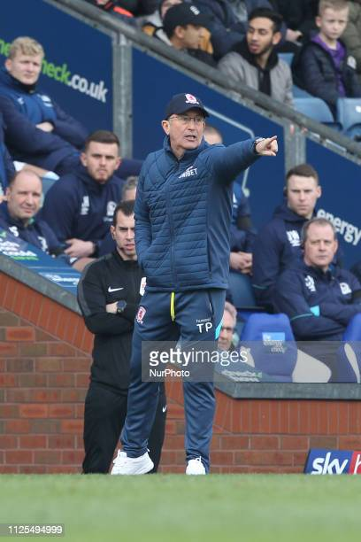 Tony Pulis the Middlesbrough manager during the Sky Bet Championship match between Blackburn Rovers and Middlesbrough at Ewood Park Blackburn on...