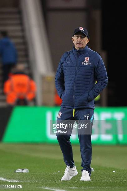 Tony Pulis the Middlesbrough manager during the Sky Bet Championship match between Middlesbrough and Preston North End at the Riverside Stadium...