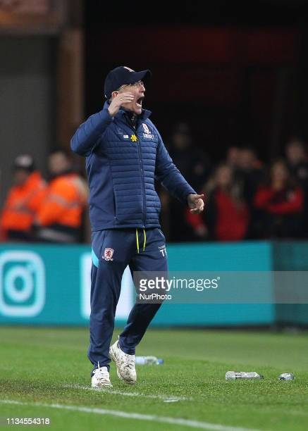 Tony Pulis the Middlesbrough manager during the Sky Bet Championship match between Middlesbrough and Bristol City at the Riverside Stadium...