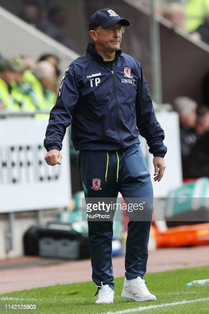Tony Pulis the Middlesbrough manager during the Sky Bet Championship match between Rotherham United and Middlesbrough at the New York Stadium...