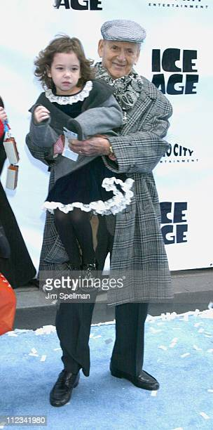 Tony Randall his daughter during World Premiere Of Ice Age at Radio City Music Hall in New York City New York United States