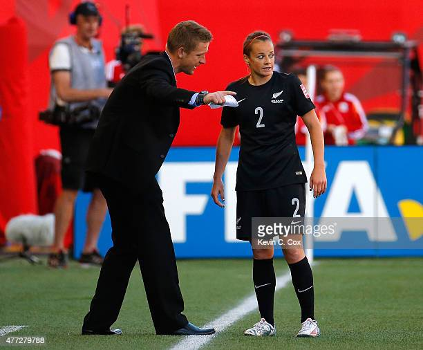 Tony Readings of New Zealand converses with Ria Percival against China PR during the FIFA Women's World Cup Canada 2015 Group A match between China...