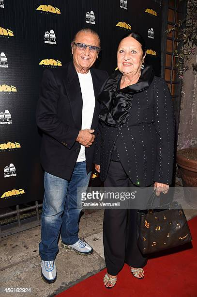 Tony Renis and Elettra Morini attend Ambi Pictures Rome Party at Hostaria dell'Orso La Cabala on September 26 2014 in Rome Italy