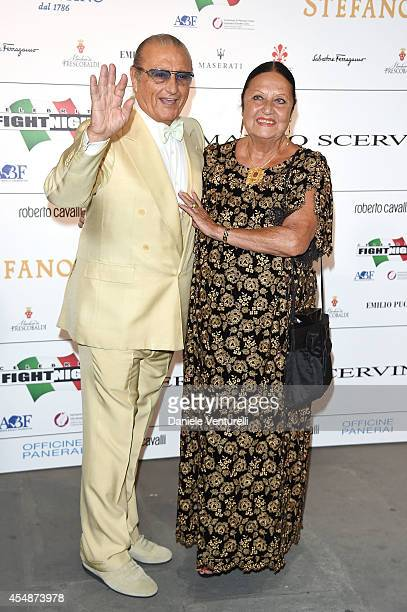 Tony Renis and Elettra Morini attend 'Celebrity Fight Night In Italy' Gala at the Palazzo Vecchio on September 7 2014 in Florence Italy