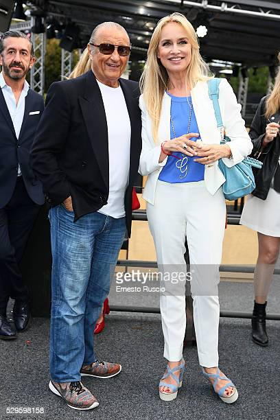 Tony Renis and Gloria Guida attend the CocaCola anniversary party at Foro Italico on May 08 2016 in Rome