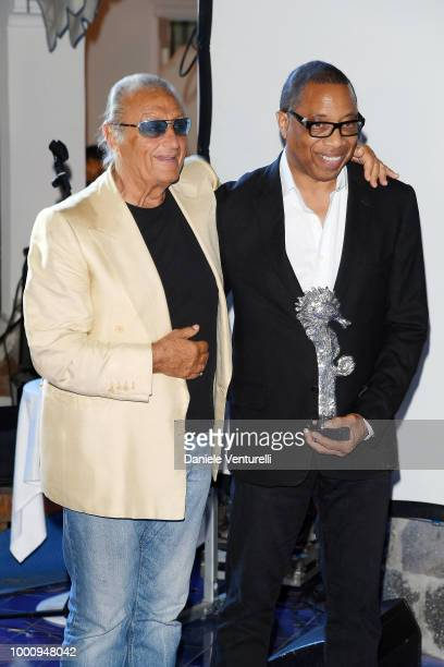 Tony Renis and Hayma Washington attend 2018 Ischia Global Film Music Fest on July 17 2018 in Ischia Italy