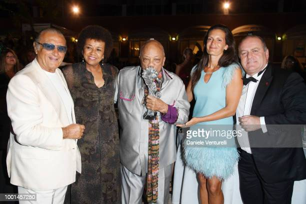 Tony Renis Cheryl Boone Isaacs Quincy Jones Veronica Berti and Pascal Vicedomini attend 2018 Ischia Global Film Music Fest on July 18 2018 in Ischia...