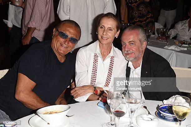 Tony Renis Jacqueline Baudit and Aurelio De Laurentiis attends 2015 Ischia Global Film Music Fest Day 4 on July 16 2015 in Ischia Italy