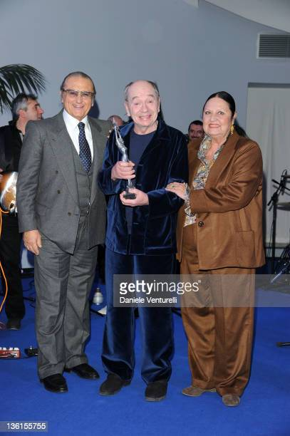 Tony renis Lindsay Kemp and Elettra Renis attend the first day of the 16th Annual Capri Hollywood International Film Festival on December 27 2011 in...