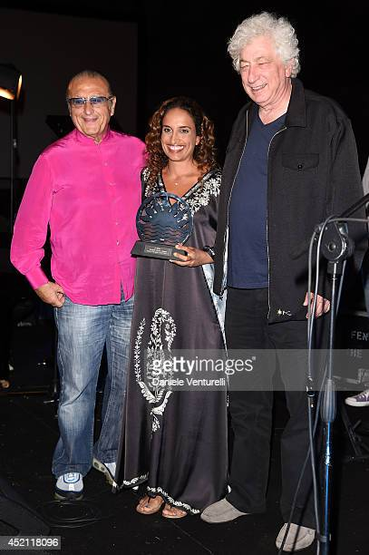 Tony Renis singer Achinoam Nini also known as Noa and Avi Lerner attends Day 2 of the Ischia Global Film Music 2014 on July 13 2014 in Ischia Italy