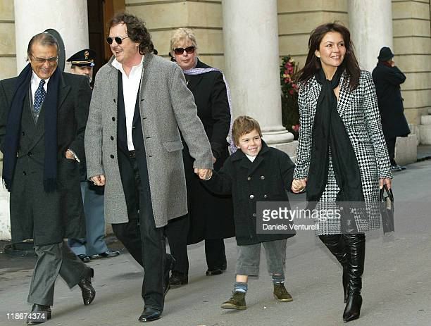 Tony Renis Zucchero his son Blu and wife during Luciano Pavarotti Marries Nicoletta Mantovani at Teatro Comunale in Modena in Modena Italy