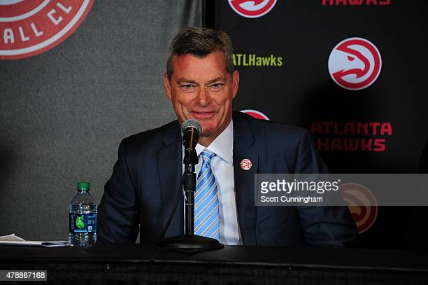 Tony Ressler of the Atlanta Hawks new ownership group speaks to the media during the announcement of the sale on June 25 2015 at Philips Arena in...