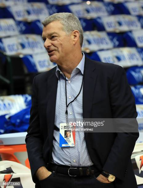 Tony Ressler owner of the Atlanta Hawks before a game against the Dallas Mavericks at American Airlines Center on October 18 2017 in Dallas Texas...