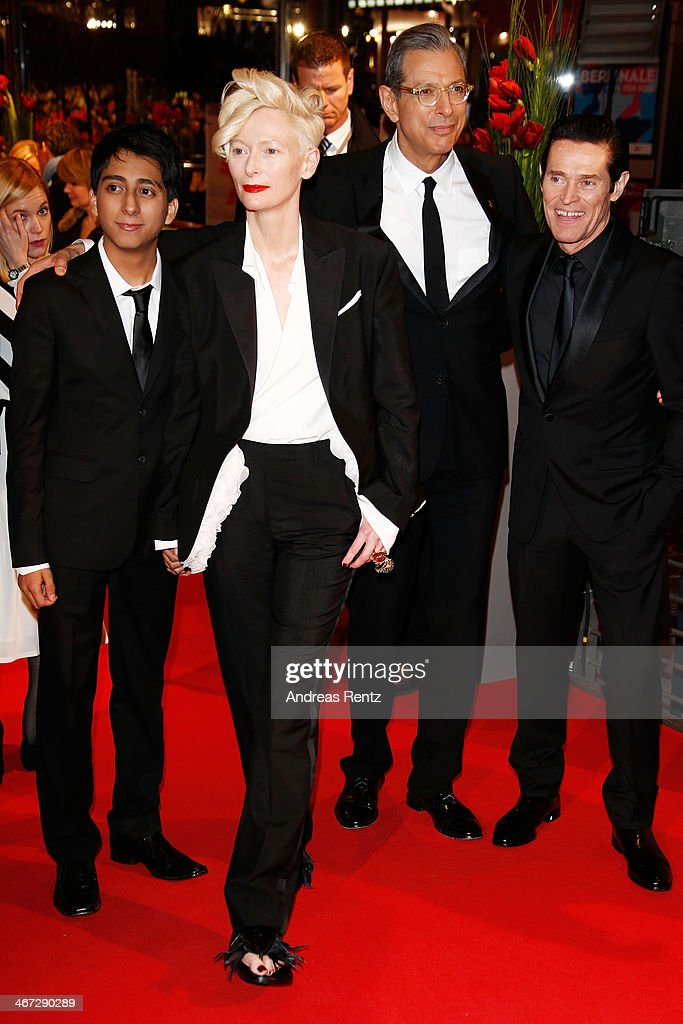 Tony Revolori, Tilda Swinton, Jeff Goldblum and Willem Dafoe attend 'The Grand Budapest Hotel' Premiere and opening ceremony during the 64th Berlinale International Film Festival at Berlinale Palast on February 6, 2014 in Berlin, Germany.