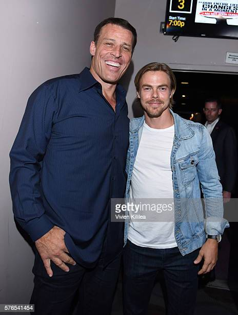 Tony Robbins and professional dancer Derek Hough attend the celebration of the release of Joe Berlinger / Tony Robbins documentary I Am Not Your Guru...