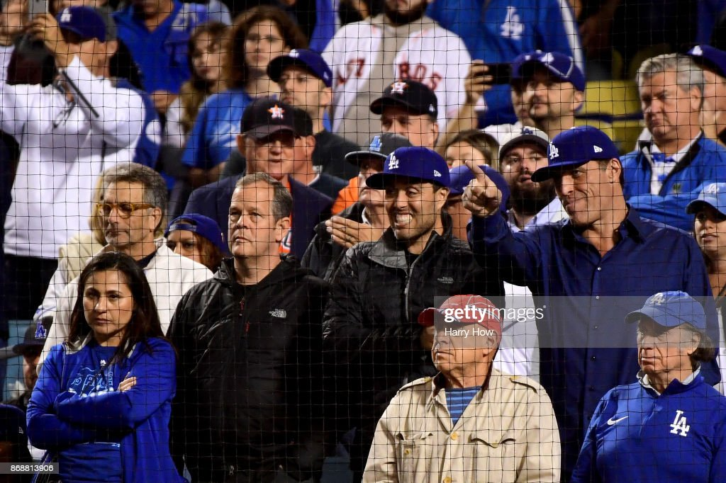 Tony Robbins (R) attends game six of the 2017 World Series between the Houston Astros and the Los Angeles Dodgers at Dodger Stadium on October 31, 2017 in Los Angeles, California.