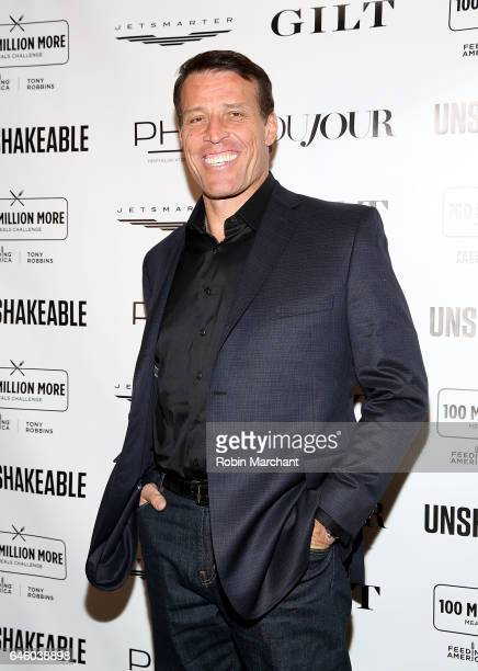 """Tony Robbins attends his """"Unshakeable"""" Book Launch Party & Birthday Celebration at PH-D Rooftop Lounge at Dream Downtown on February 27, 2017 in New..."""
