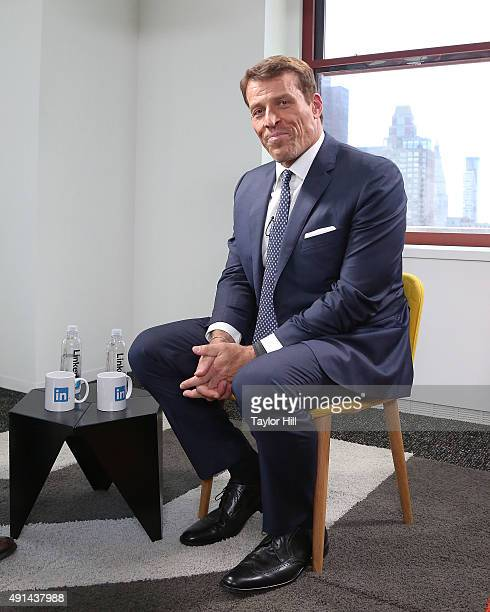 """Tony Robbins is interviewed as part of the """"LinkedIn Presents"""" series at The Empire State Building on October 5, 2015 in New York City."""