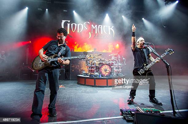 Tony Rombola Sully Erna and Shannon Larkin of Godsmack performs during the 1000HP Tour at The Fillmore Detroit on September 23 2015 in Detroit...