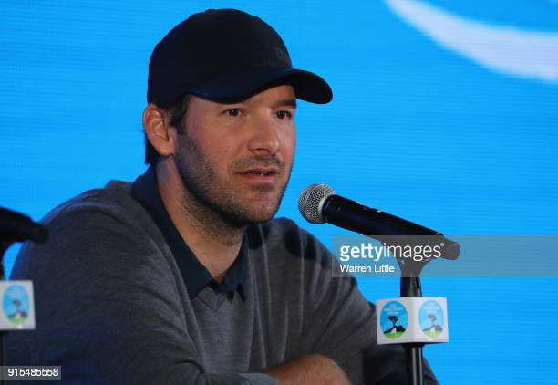 Tony Romo addresses the media ahead of the ATT Pebble Beach ProAm on the Pebble Beach Golf Links on February 7 2018 in Pebble Beach California