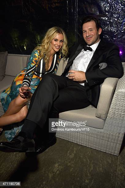 Tony Romo and Candice Crawford attend the Bloomberg Vanity Fair cocktail reception following the 2015 WHCA Dinner at the residence of the French...