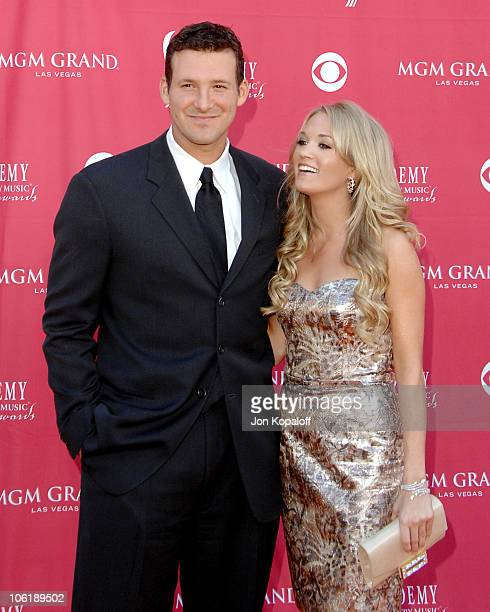Tony Romo and Carrie Underwood during 42nd Academy of Country Music Awards Arrivals at MGM Grand Hotel and Casino Resort in Las Vegas Nevada United...