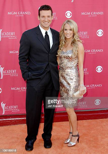 Tony Romo and Carrie Underwood during 42nd Academy of Country Music Awards - Arrivals at MGM Grand Hotel and Casino Resort in Las Vegas, Nevada,...