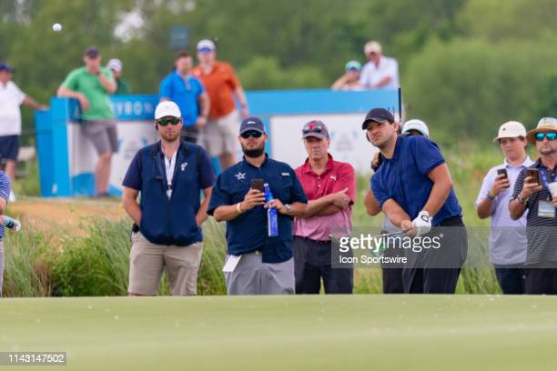 Tony Romo chips onto the green during the first round of the ATT Byron Nelson on May 9 2019 at Trinity Forest Golf Club in Dallas TX