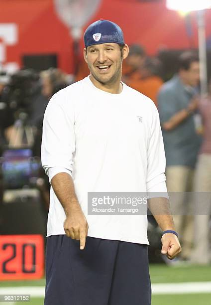 Tony Romo is seen during the 2010 Pro Bowl pregame at the Sun Life Stadium on January 31 2010 in Miami Gardens Florida