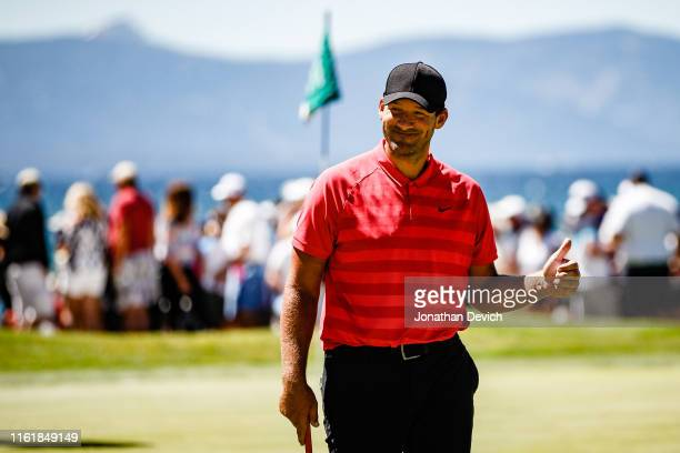 Tony Romo leaves the 18th hole after finishing round 2 of the American Century Championship in the lead at Edgewood Tahoe Golf Course on July 13 2019...