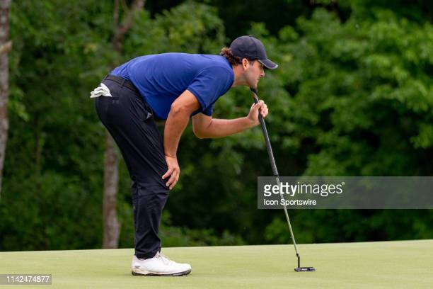 Tony Romo lines up his putt on the 17th green during the first round of the ATT Byron Nelson on May 9 2019 at Trinity Forest Golf Club in Dallas TX
