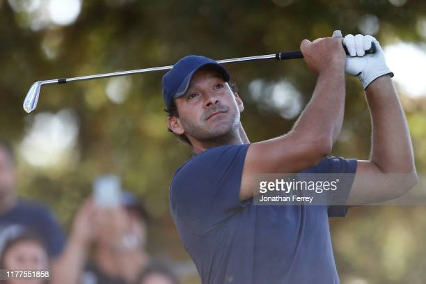Tony Romo looks hits on the 11th hole during the second round of the Safeway Open at Silverado Resort on September 27, 2019 in Napa, California.