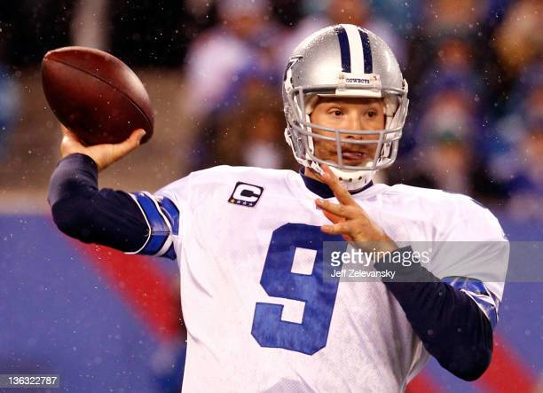 Tony Romo of the Dallas Cowboys drops back to pass against the New York Giants at MetLife Stadium on January 1 2012 in East Rutherford New Jersey