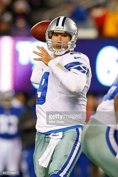 Tony Romo of the Dallas Cowboys in action against the New York Giants at MetLife Stadium on November 24 2013 in East Rutherford New Jersey Cowboys...