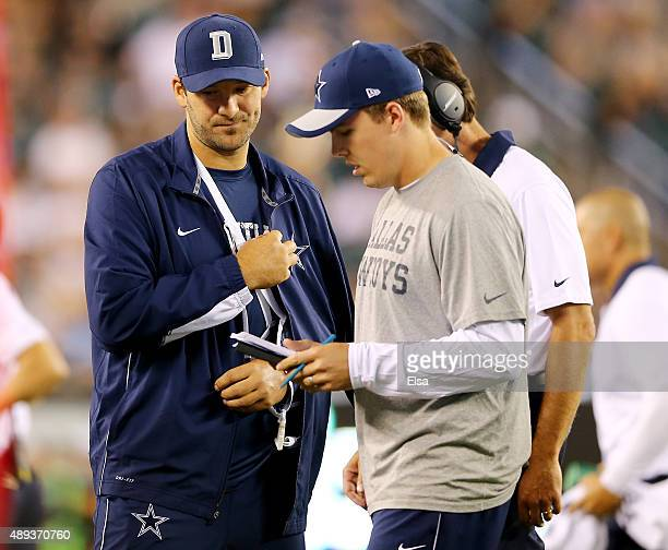 Tony Romo of the Dallas Cowboys looks on from the sideline in the fourth quarter against the Philadelphia Eagles on September 20 2014 at Lincoln...