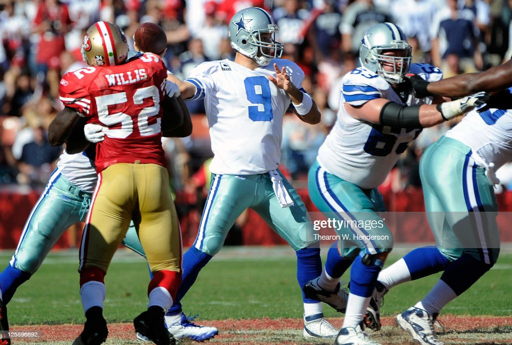 Tony Romo #9 of the Dallas Cowboys throws a pass against the San Francisco 49ers in the fourth quarter of an NFL football game at Candlestick Park on September 18, 2011 in San Francisco, California. The Cowboys won the game in overtime 27-24.