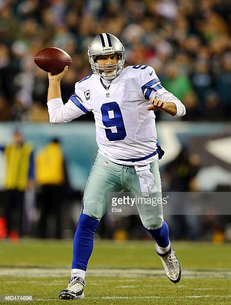 Tony Romo of the Dallas Cowboys throws a pass in the first quarter against the Philadelphia Eagles at Lincoln Financial Field on December 14 2014 in...
