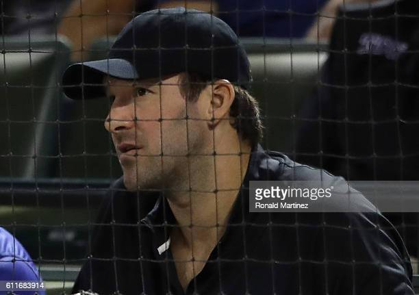 Tony Romo of the Dallas Cowboys watches a game between the Tampa Bay Rays and the Texas Rangers at Globe Life Park in Arlington on September 30 2016...