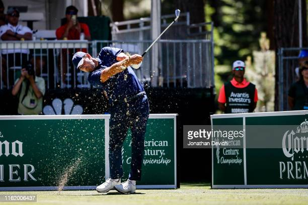 Tony Romo tees off on hole 7 of the final round of the American Century Championship at Edgewood Tahoe Golf Course on July 14 2019 in Stateline Nevada