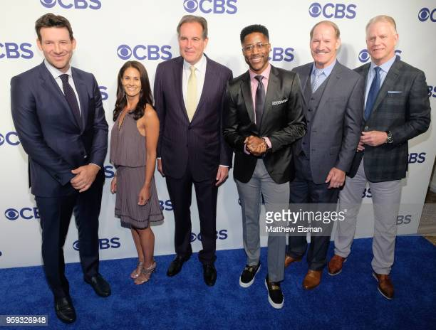 Tony Romo Tracy Wolfson Jim Nantz Nate Burleson Bill Cowher and Boomer Esiason attend the 2018 CBS Upfront at The Plaza Hotel on May 16 2018 in New...