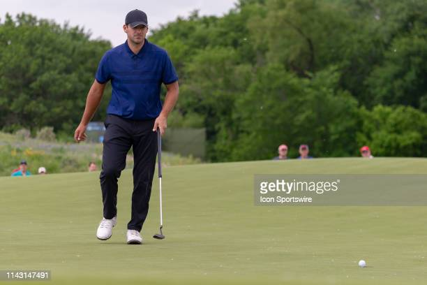 Tony Romo walks after his birdie putt on during the first round of the ATT Byron Nelson on May 9 2019 at Trinity Forest Golf Club in Dallas TX