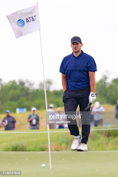 Tony Romo walks up to mark his ball on during the first round of the ATT Byron Nelson on May 9 2019 at Trinity Forest Golf Club in Dallas TX