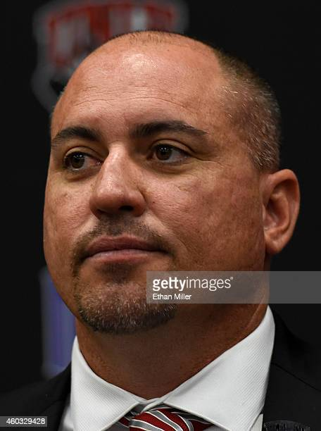 Tony Sanchez takes a question from the media after being introduced as UNLV's new head football coach during a news conference at the university on...