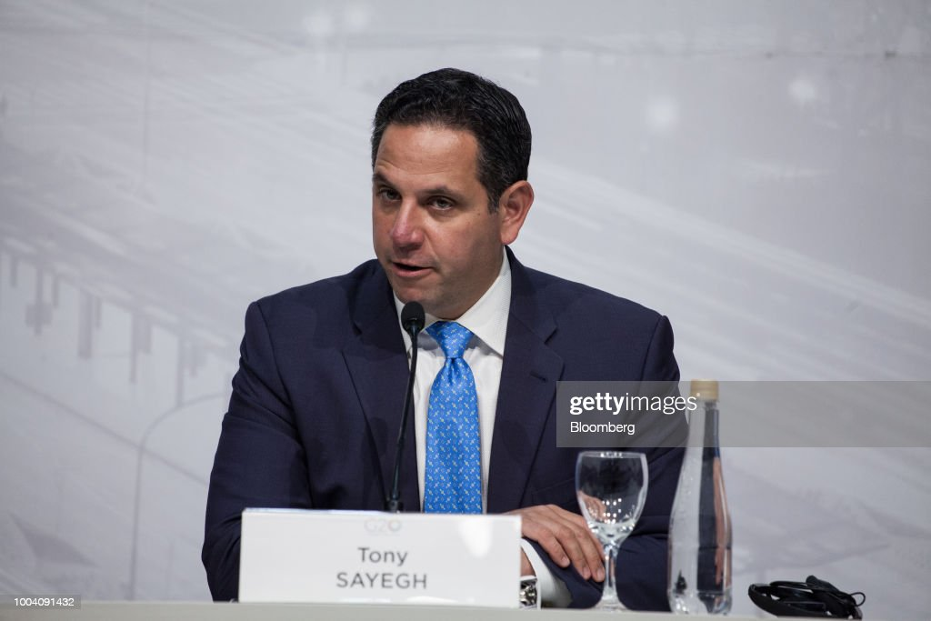 Tony Sayegh, spokesman for the U.S. Treasury Department, speaks at a news conference with Steven Mnuchin, U.S. Treasury secretary, not pictured, during the G-20 finance ministers and central bankers meetings in Buenos Aires, Argentina, on Sunday, July 22, 2018. Mnuchin said that there is no chance of a currency war erupting despite U.S. President Donald Trump tweets.