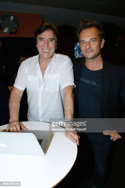 Tony Scotti and David Hallyday attend Sylvie Vartan performs at L'Olympia on September 15, 2017 in Paris, France.