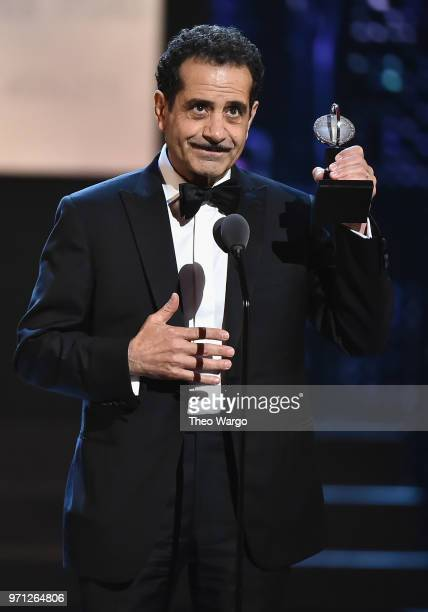 Tony Shalhoub accepts the award for Best Performance by an Actor in a Leading Role in a Musical for The Band's Visit onstage during the 72nd Annual...