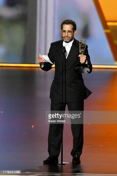 Tony Shalhoub accepts the Outstanding Supporting Actor in a Comedy Series award for 'The Marvelous Mrs. Maisel' onstage during the 71st Emmy Awards...