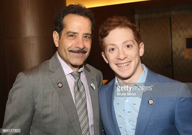 Tony Shalhoub and Ethan Slater pose at The 2018 Tony Award Meet The Nominees photo call press junket at The Intercontinental New York Times Square on...